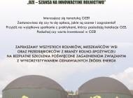 """Zaproszenie nabezpłatne szkolenie """"OZE – Szansa nainnowacyjne rolnictwo"""""""